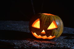 Halloween soon classic head jack spooky pumpkin. Under moonlight Stock Photo