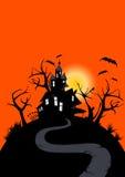 halloween spökade huset Arkivbild