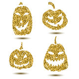 Halloween sparkley pumpkin with scary face on white.  Royalty Free Stock Images