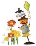 Halloween, spaventapasseri, corvo Illustrazione di Stock
