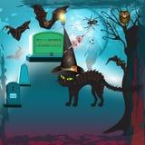 Halloween spaventoso con il gatto Immagini Stock