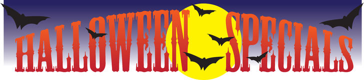Halloween Specials. Vector graphic headline for Halloween Specials with bats, moon and night sky Royalty Free Stock Image