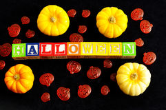Halloween spelled with blocks Royalty Free Stock Photography