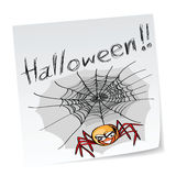 Halloween spider. A note with hand-drawn halloween theme message - 5 of series Stock Photos