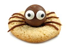 Halloween spider cookie isolated on white Stock Image