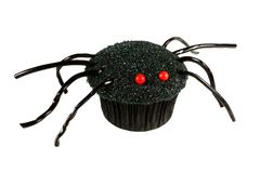 Halloween spider cupcake isolated on white Royalty Free Stock Photography