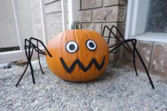 Halloween spider pumpkin Royalty Free Stock Photography