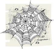Halloween spider web background. Halloween spider web hand drawn vector background Stock Photography
