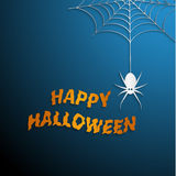 Halloween spider web with blue background Royalty Free Stock Photo