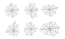 Halloween spider web, cobweb symbol, icon set. vector illustration isolated on white background. Royalty Free Stock Photo
