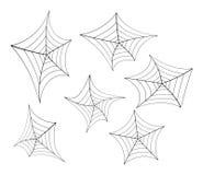 Halloween spider web, cobweb symbol, icon set. vector illustration  on white background. Stock Photos