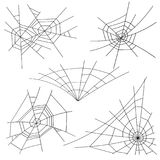 Halloween Spider Web Set Vector. Black Spider Web Isolated On White. For Halloween Design. Halloween Spider Web Set Vector. Black Spider Web Isolated On White Stock Images