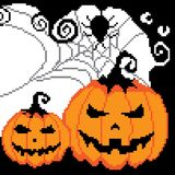 Halloween, spider web with a spider, a pumpkin painted with pixels, squares vector illustration