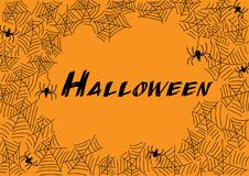 Halloween spider web and spiders for greeting card. Halloween spider web and spiders for greeting card, poster, banner, background. Vector illustration Royalty Free Stock Image