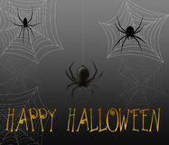 Halloween Spiders. Halloween greeting with black spiders and spider webs Royalty Free Stock Images