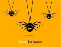 Halloween spiders design poster template. Happy Hallooween decoration of cute spiders Stock Images