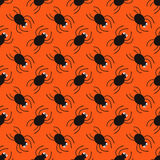 Halloween spiders diagonal pattern. Cute seamless background. Royalty Free Stock Images