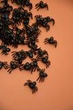 Halloween spiders on orange Royalty Free Stock Photos