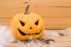 Halloween spiders  and pumpkin Stock Photography