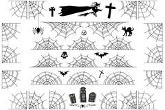 Halloween Spiderweb Vector Borders and Corners Frame Royalty Free Stock Photo