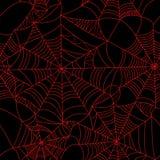 Halloween-spinnewebrood op zwart naadloos patroon als achtergrond S Stock Foto