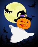 Halloween spirit. Jack-o-lantern flies on the sky. Halloween illustration Stock Photos