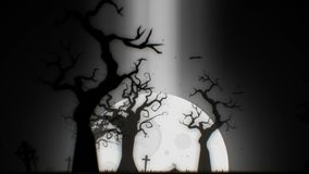 Halloween spooky animation background motion graphics footage white theme, with the spooky tree, moon, bats, zombie hand stock video footage