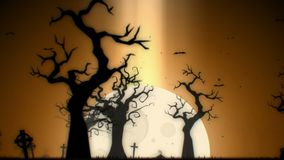 Halloween spooky animation background motion graphics with the spooky tree, moon, bats, zombie hand and graveyard, Yellow theme stock video