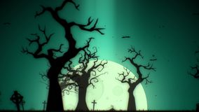 Halloween spooky animation background motion graphics with the spooky tree, moon, bats, zombie hand and graveyard, Green theme stock video
