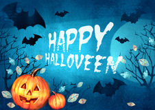 Halloween spooky background with bats flying in the moonlight autumn trees and pumpkins. Scary Halloween background. Stock Image