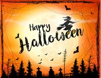 Halloween spooky background with broomstick. Stock Photography