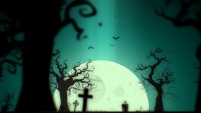 Halloween spooky background green theme, with the spooky tree , moon , bats , zombie hand and graveyard.  Royalty Free Stock Photo
