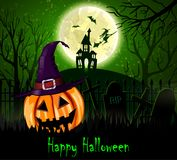 Halloween spooky background. With moon fence haunted house witch bats and pumpkin. Vector Stock Photos