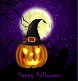 Halloween spooky background. With moon fence and pumpkin. Vector Royalty Free Stock Image
