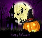 Halloween spooky background. With moon fence haunted house witch bats and pumpkin. Vector Royalty Free Stock Photo