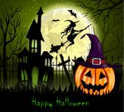 Halloween spooky background. With moon fence haunted house witch bats and pumpkin. Vector Royalty Free Stock Image
