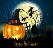 Halloween spooky background. With moon fence and pumpkin. Vector Stock Image
