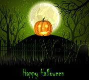 Halloween spooky background. With moon fence and pumpkin. Vector Stock Photo