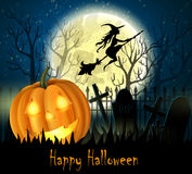 Halloween spooky background. With moon fence and pumpkin. Vector Royalty Free Stock Photo