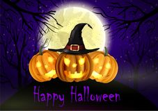 Halloween spooky background. With moon and three pumpkins. Vector Royalty Free Stock Images