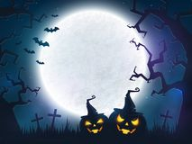 Halloween spooky background. Spooky Halloween night. Background with full moon, scary trees and evil pumpkins. Banner with copy space for greeting text or Stock Photo