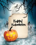 Halloween spooky background with old paper. Royalty Free Stock Image