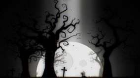 Halloween spooky background white theme, with the spooky tree , moon , bats , zombie hand and graveyard.  Stock Photos
