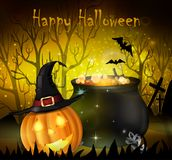 Halloween spooky background. With witch cauldron hat and pumpkin. Vector Royalty Free Stock Photography