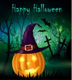 Halloween spooky background. With witch hat and pumpkin. Vector Royalty Free Stock Images