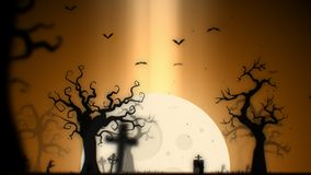 Halloween spooky background yellow theme, with the spooky tree , moon , bats , zombie hand and graveyard.  Stock Images