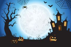 Halloween Spooky Blue Vector Scene Background 1 stock illustration