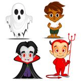 Halloween spooky cartoon characters. Additional file in eps 10 stock illustration
