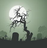 Halloween Spooky Dead Tree In Graveyard. Illustration of a halloween frightening weird dead tree inside graveyard with tombstones and a full moon in the Stock Images
