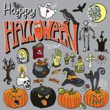 Halloween spooky elements and text set Stock Photos